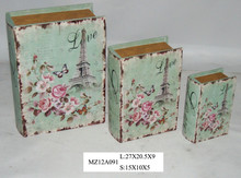 Elegant love pink flowers on blue style upright wooden book box