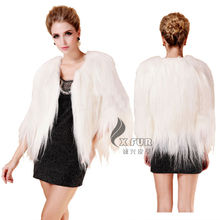 CX-G-A-129D White Coat Genuine Real Goat Womens Fur Clothing