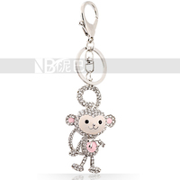 Shining Pendant! Silver Plated Zinc Alloy Super Cute Monkey Bowknot Crystal Animal Keychain for Girls