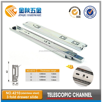42MM 3-FOLD Telescopic Channel For Kitchen Cabinets Drawer Slide