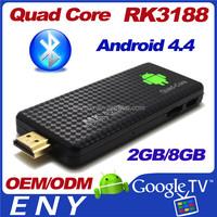 RK3188 Quad CoreTV Box Android 4.4 Kitkat XBMC 13.0 2GB Ram 8GB Rom HD 1.4 Dual Band Wifi Quad Core RK3188 TV Stick MK809III