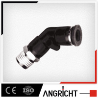 A148 Ningbo manufacturer angricht popular black plastic pneumatic L shape 90 degree air hose push in fitting