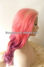 Synthetic lace front wig blonde&pink&purple three tone ombre hair color wigs cheap wigs on sale from express_wigs