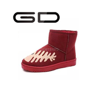 GD lovely fish pictures styles bright red warm girls snow boots