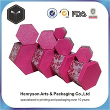 glitter printing rose pink paper gift box for Christmas packaging