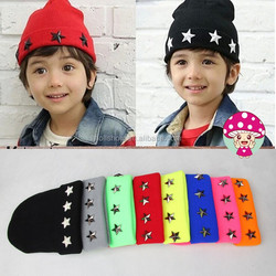 Custom Fashion Star Rivet Knitted Pattern Girls Boys Children Beanie Hat