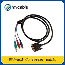 high quality DVI to AV 3 RCA male component video cable/converter Gold plated