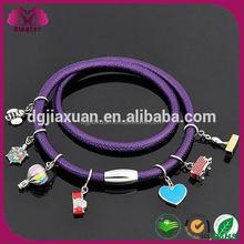 Sheepskin Wrist Band,Stainless Steel Charm Bracelet