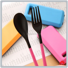 Environment protecting portable travel canteen folding set tableware suit cutlery Storage box