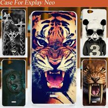 DIY Fashion Colored paiting Animals Design cellphone case cover hart shell for Explay Neo Free Shipping