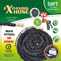 50FT X EXPANDING MAGIC HOSE PIPE GARDEN EXPANDABLE HOSE PIPE BRASS FITTINGS Triple layer natural latex hose