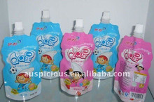 Logo printed stand up plastic juice drink spout pouch bag