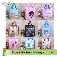 Cartoon pictures printed pp nonwoven shopping bag laminated