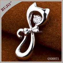2015 fashion animal 925 sterling silver bright round zircon pendant for office lady, for mom