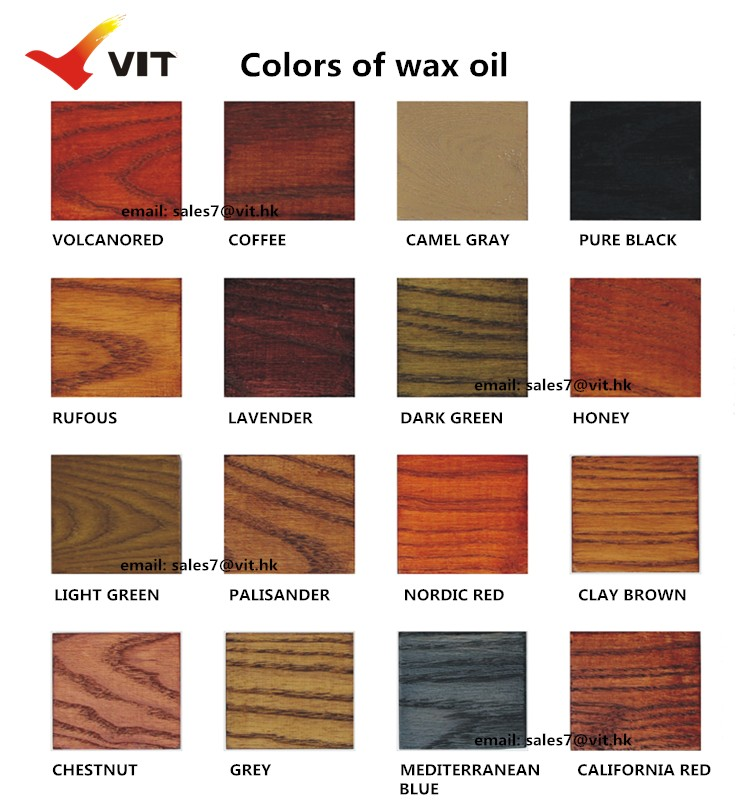 colors code of VIT-168 Nature wax oil for wood product, out door wood paint, plant  lacquer for wood protection, weahter and UV resistant wood paint, water resistant wood coating.jpg
