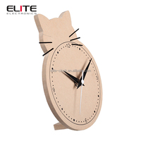 quality first children cat shaped wooden alarm clock