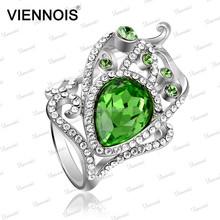 Fashion womens white gold engagement rings with aquamarine