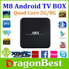 arabic iptv M8 2g 8g xbmc kodi 14.2 android 4.4 tv box 4k 3D android mini pc stick amlogic s802 tablet android