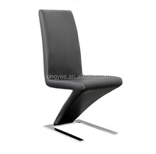 Modern Dining Room Chair Chromed Stainless Steel Base Z Dining Chair Black Leather Z Shape Dining Chair