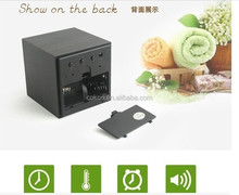 Modern Wooden Digital Desk Black Alarm Clock Green LED Thermometer