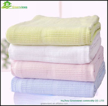Bamboo organic cotton baby blanket, High Quality White Cotton Waffle Hospital Blanket GVMT10226