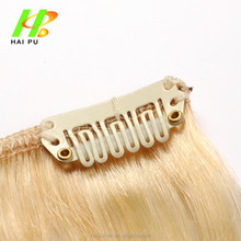Factory Wholesale 120g 165g 7pcs clip in virgin human european hair extensions