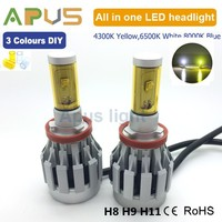 2 years warranty H8 H9 H11 white yellow blue changeable car 12V led light headlight