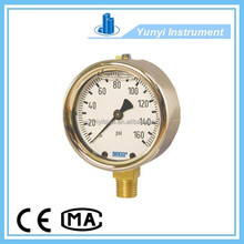 Bourdon tube pressure gauge forged brass case type