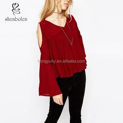 Fashion flared long sleeve v neck latest tops for girls