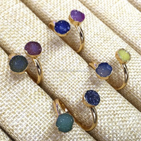 MU150911270 Best Gift Mix Colors Two Stones Druzy Agate Ring Ajustable Gemstone Ring