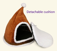 Cute Design Christmas Cap Pet House Dog Cage