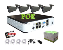 4CH 1080P POE NVR kit with 1TB HDD 4pcs 1080P IP waterproof camera P2P NVR system Surveillance CCTV System Kit