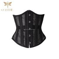2015 new 26 Steel Skeletons Black Net Cloth Short Steel Bone Corset