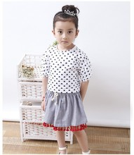 S30156W MODERN PRETTY GIRLS SETS DOTS PRINTED TOPS AND LACE HEMMING STRIPES SHORTS