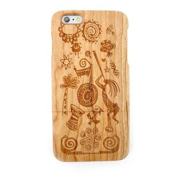 Cherry Wood Case for Apple iPhone6+,Natural Wood Hard Cover Case for iPhone6 Plus