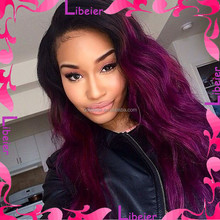 Sexy Women Natural Wave Black/Purple Ombre Lace Front Wig 20inch Human Hair Indian Remy Wig