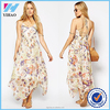 Summer Dress Plus Size Women Clothing Casual in Bird and Flower Print with Tie Back Chiffon Casual Floral Print Maxi Dress