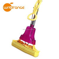 Witorange Purple Folding Sponge Mop with Replacement Heads
