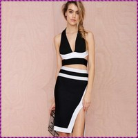 Wholesale Price High Quality Professional Side High Slit Sexy Women 2 Piece Bandage Dress