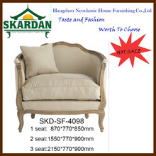 2015 antique style modern solid wood three seats fabric leather sofa