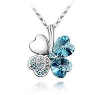 dubai gold crystal necklace Four-leaf clover pendant mix color