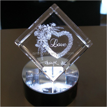 3D engraving heart crystal gifts for lover souvenir MH-Z060