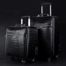 Luxury business crocodile genuine leather travel luggage Universal wheel leather trolley luggage