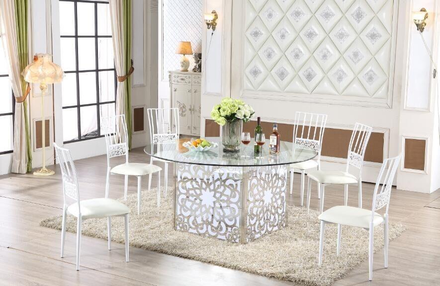 Silla y mesa de hierro forjado de hierro blanco con muebles de ...
