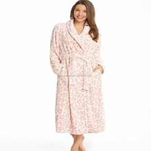 100% polyester coral fleece Leopard print long bathrobe for women Ladies night Robe