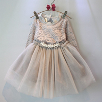 Wholesale Thickening And Velvet Children Dresses long Sleeve Girls Solid Dress Include Necklace Kids Wear GD81105-39