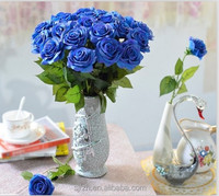 2014 SJ AF090 Customized artificial flower rose in artificial flower wedding party decoration blue fake plastic silk rose flower