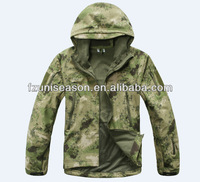 Waterproof forest camo army softshell jacket for men