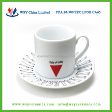 2015 hot-selling custom logo printing ceramic stoneware espresso coffee cup saucer set