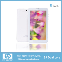 Front 0.3MP Rear 2.0MP camera 9 inch dual core tablet pc dual sim card tablet pc